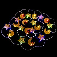 FRCOLOR Led String Lights Moon Star Fairy String Lights Wrought Iron for Indoor Outdoor Ramadan Wedding Party Tree…