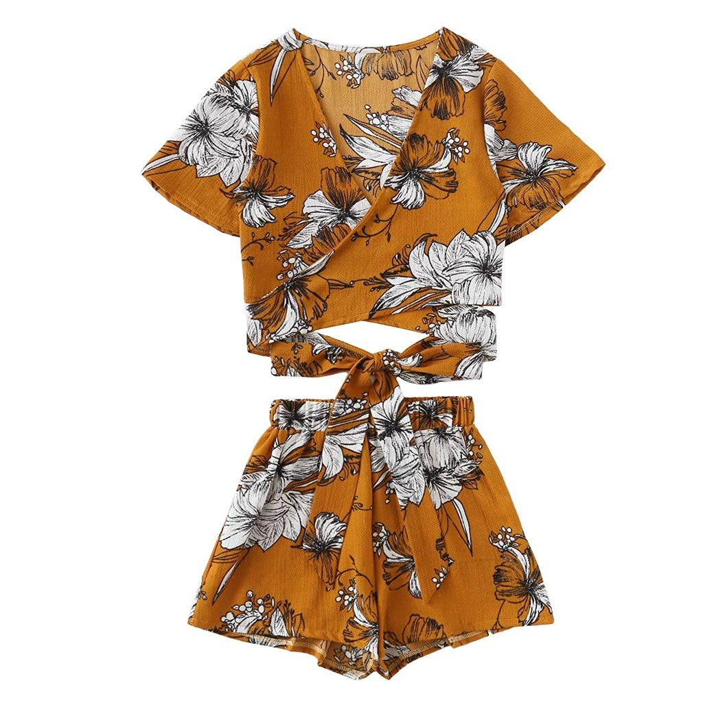 ZOMUSAR 2019 Womens Short Sleeve Strappy 2 Piece Boho Floral Print Crop Cami Top with Shorts Yellow
