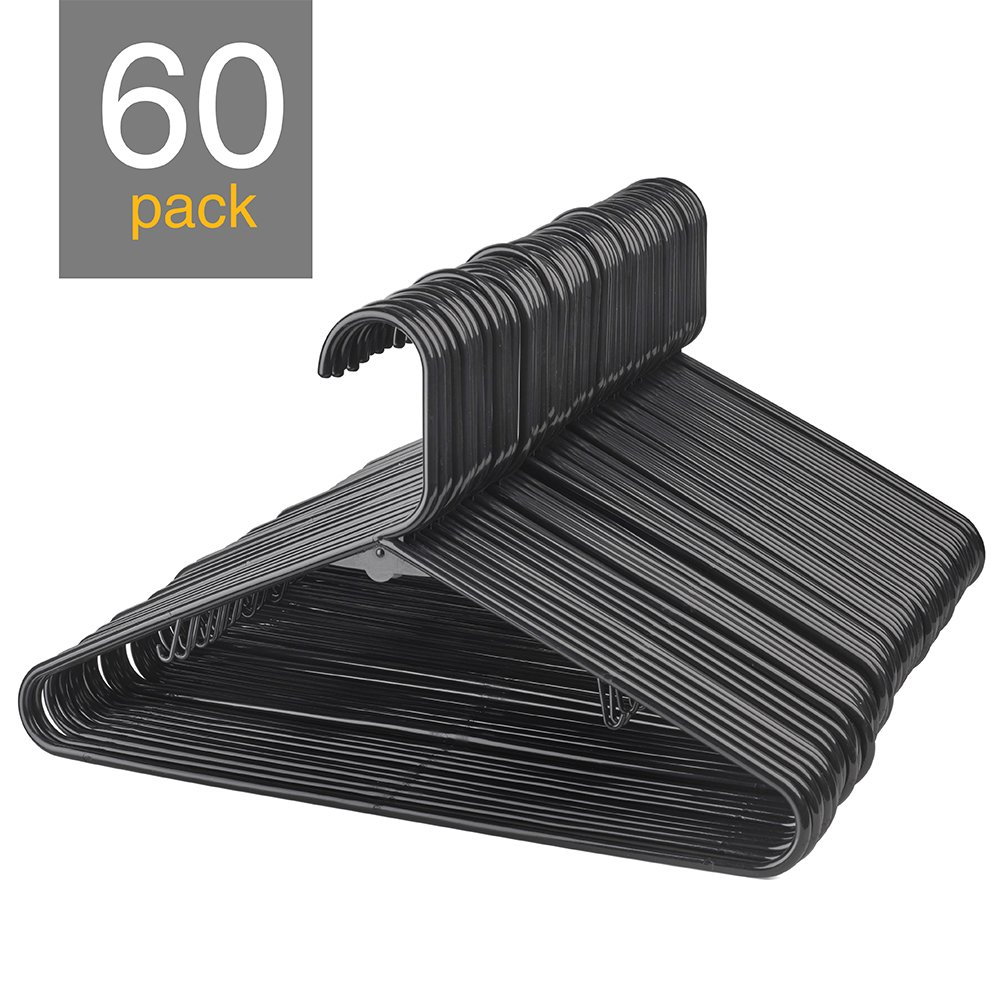 HOUSE DAY Black Plastic Tubular Adult Hangers 16.5 Inch Light-Weight Plastic Hanger 60pcs (black)