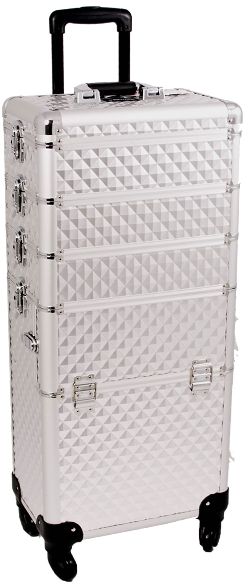 SUNRISE Makeup Case on Wheels 4 in 1 Professional Organizer I3361 Aluminum, 3 Stackable Trays with Adjustable Dividers, Locking with Mirror, Silver Diamond