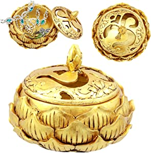 "Ebros Gift Auspicious Golden Buddha Ohm Carved Padma Lotus Round Jewelry Box Figurine 3.25""Diameter Eastern Enlightenment Trinket Box Accessory"