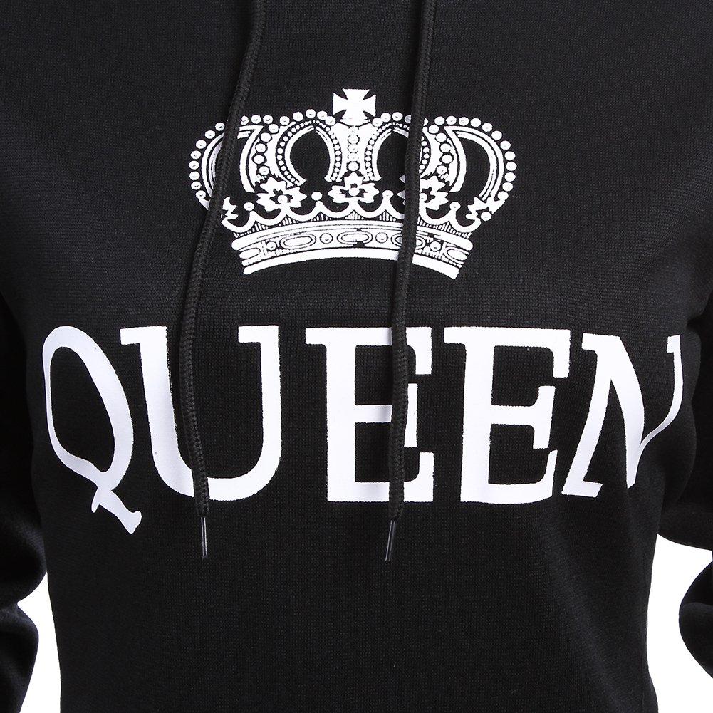 50dc517f Amazon.com: Fenghuo Women's Kangaroo Pocket Queen Hoodie Sweatershirt:  Clothing
