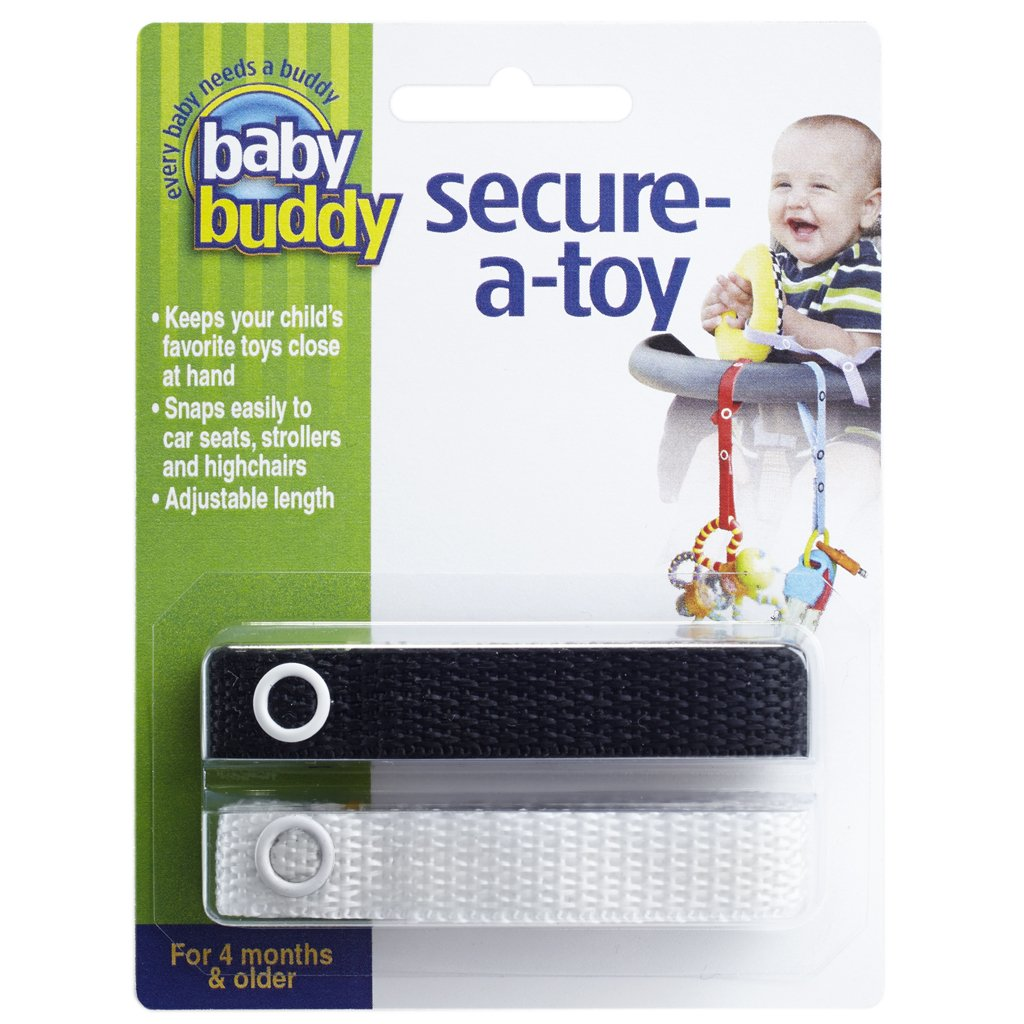 Baby Buddy Secure-A-Toy, Safety Strap Secures Toys, Teether, or Pacifiers to Strollers, Highchairs, Car Seats—Adjustable Length to Keep Toys Sanitary Clean Black-White 2 Count