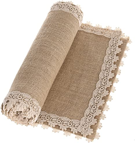 Amazon Com Ling S Moment Burlap Table Runners 12 X 60 Inches With Lace Hem Rustic Country Barn Wedding Party Decoration Farmhouse Decor Home Kitchen