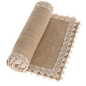 Ling's moment Burlap Table Runners 12 x 60 Inches with Lace Hem, Rustic Country Barn Wedding Party Decoration Farmhouse Decor