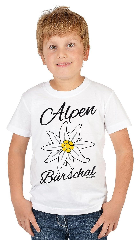 Lustige Bayrische Sprüche Kinder T-Shirt Volksfest: Alpen Bürschal -- Mundart bayrischer Dialekt Kindershirt