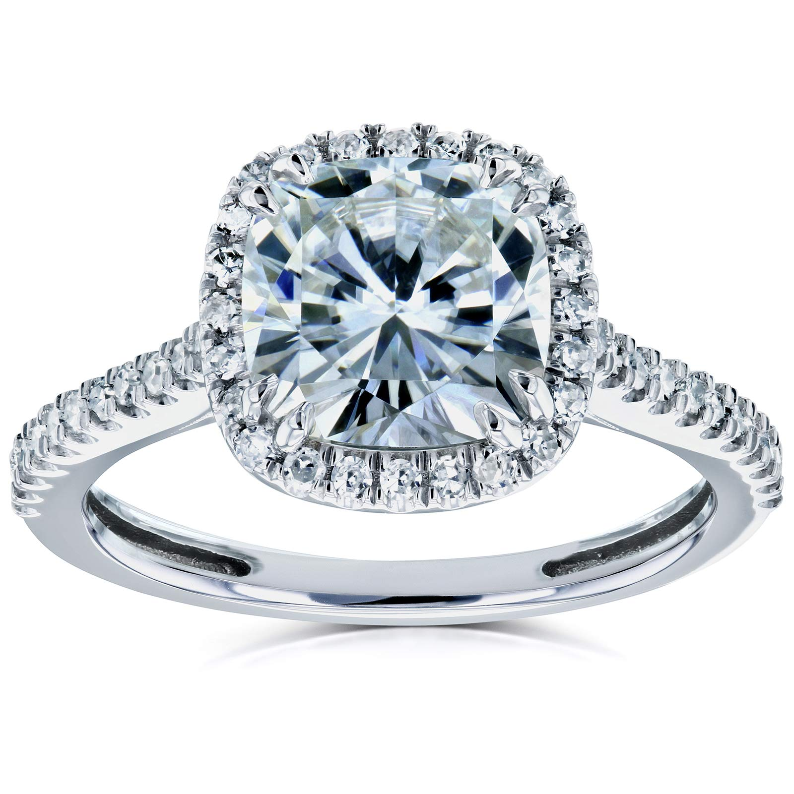 Cushion Moissanite and Diamond Halo Engagement Ring 2 1/4 CTW 14k White Gold, 4.5