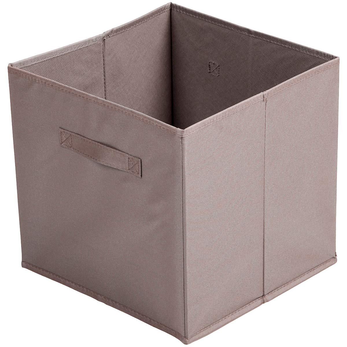 Panier Cube Boite De Rangement avec Poign/ée D/éco City Taupe 31 x 31 x 31cm Promobo