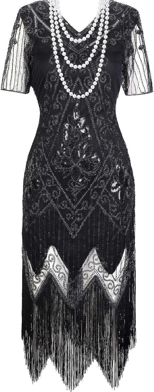 Hicarer Vestido Vintage de Años 1920 Negro de Mujeres Vestido con Flecos Lentejuelas con Collar de Perlas