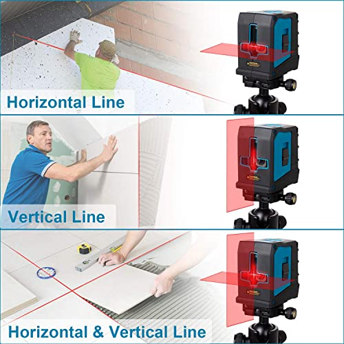 Laser Level, Tilswall 65ft Self-leveling Horizontal and Vertical Cross Line Laser with Dual Modules, Magnetic Mount Base and Carrying Pouch, Battery Included