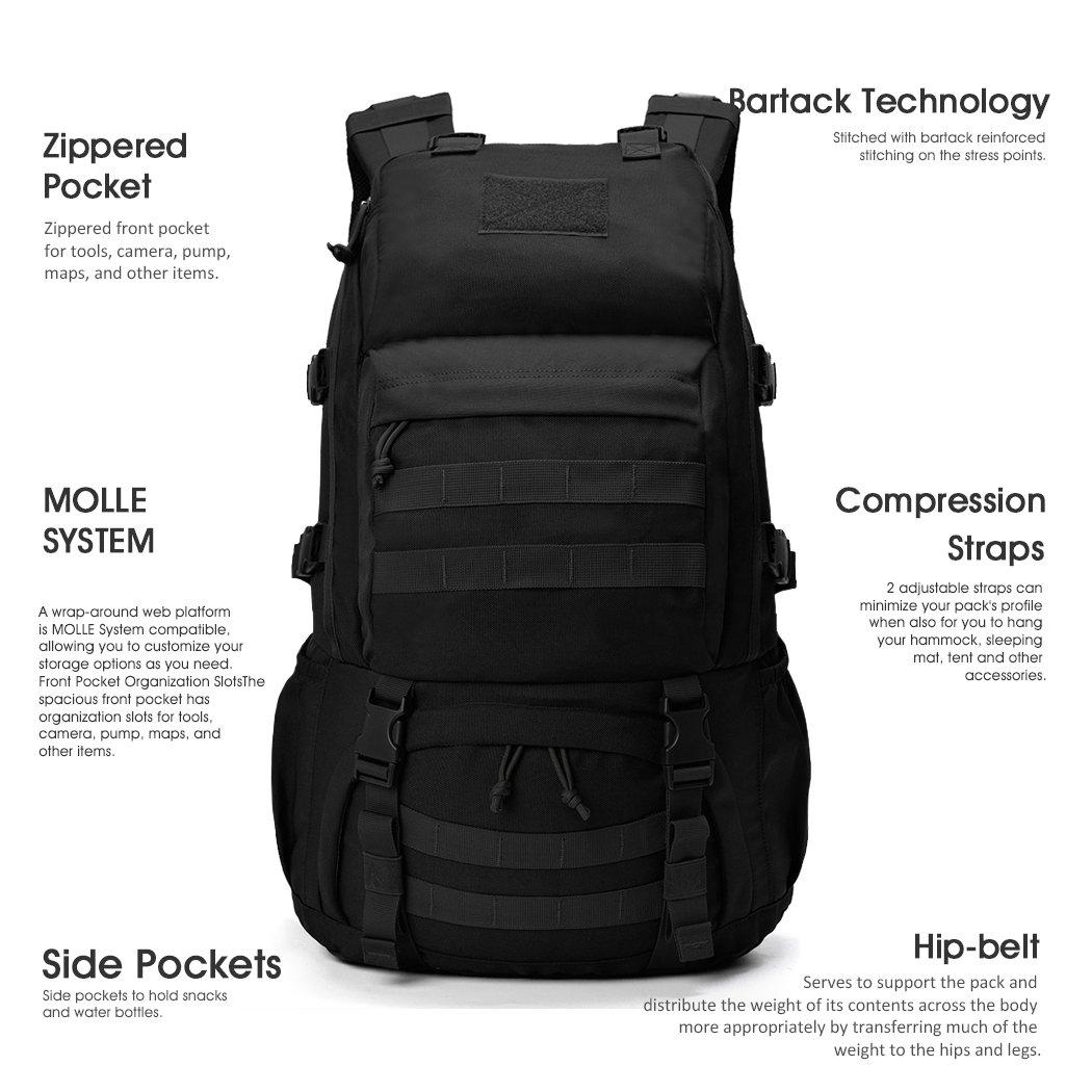 Mountaintop 40L Mochila Militar /Táctica Molle / Acampada /Camping /Senderismo/ Deporte/ Backpack de Asalto Patrulla (Negro): Amazon.es: Deportes y aire ...