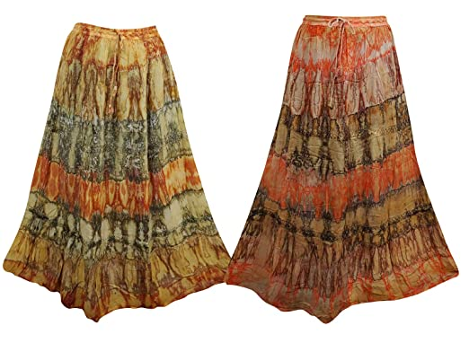 4bfcc2708a 2pc Women's Maxi Skirt Tie Dye Printed Drawstring Flare Lace Work ...