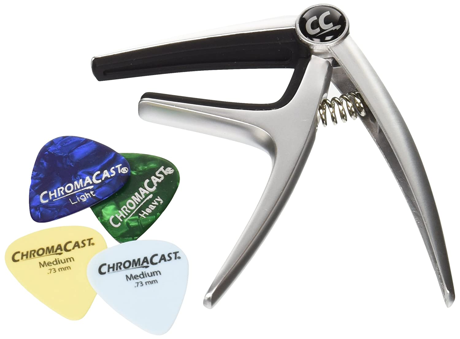 ChromaCast Single Handed Quick Change 6-String Guitar Capo for Acoustic & Electric Guitars with Pick Sampler CC-GCP6-SIL-KIT