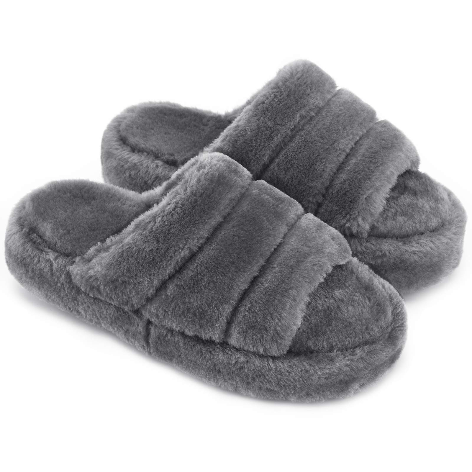 Honalika Comfy Open Toe House Slippers for Women Indoor Cozy Soft Womens