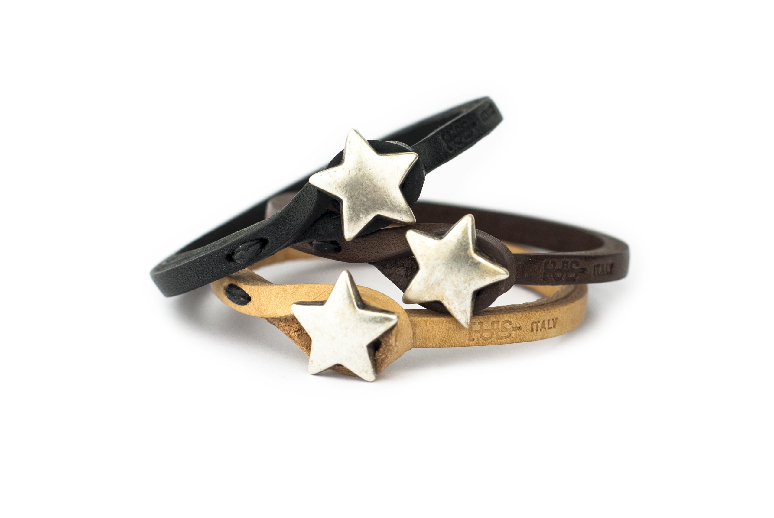 Genuine Italian Leather Bracelet in Multiple Color Combinations | Stone Closure | Handcrafted in Italy (Ginger) (Brown Leather with Silver Star, 6.75)