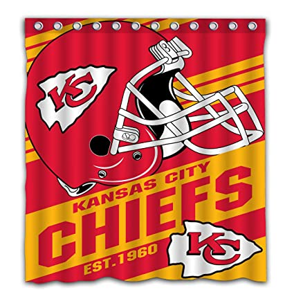 Image Unavailable Not Available For Color Potteroy Kansas City Chiefs Team Stripe Design Shower Curtain