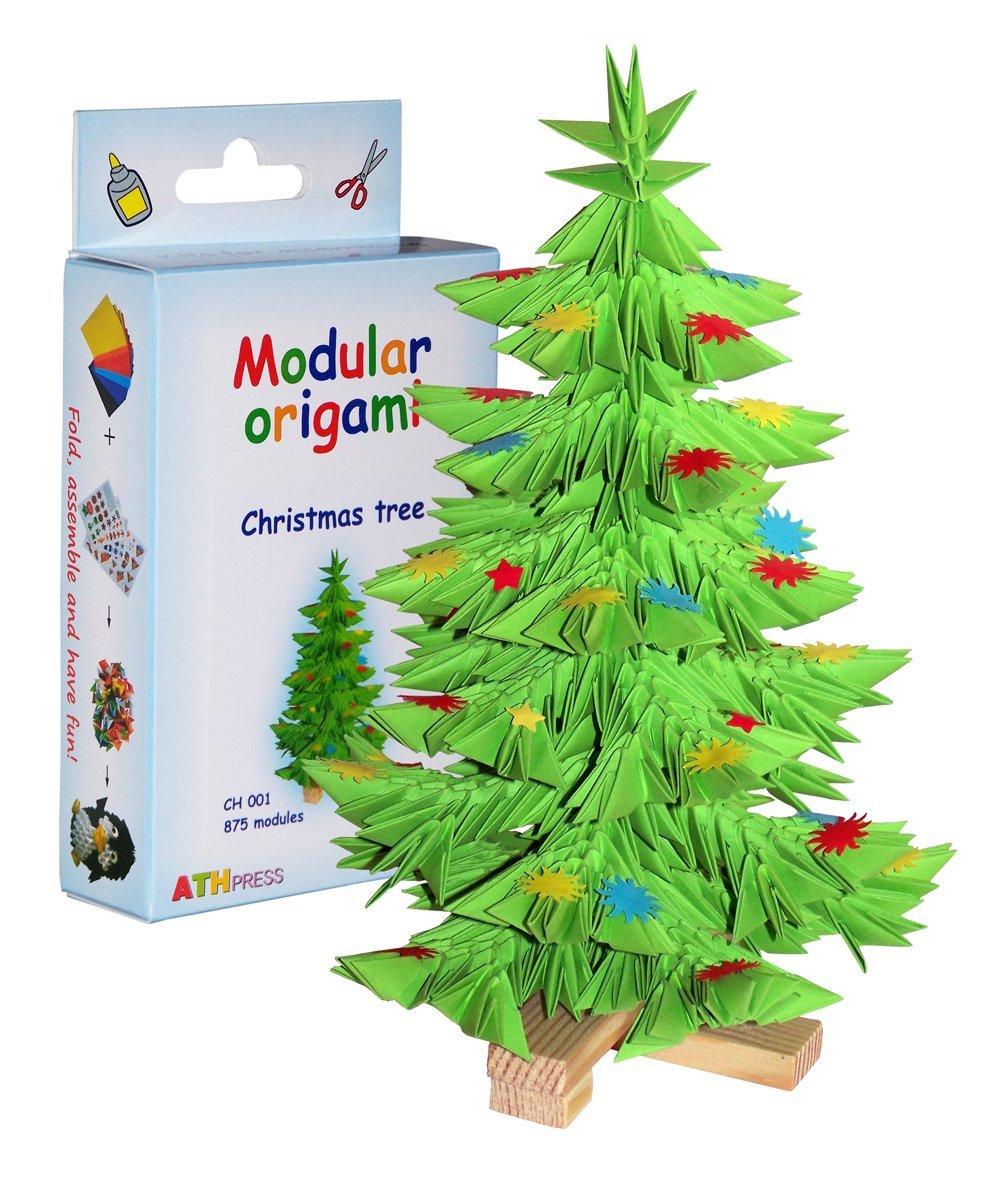 875-teiliges Modul-Origami, kleines Papierweihnachtsbaumset, Mehrfarbig Modular Origami CH001