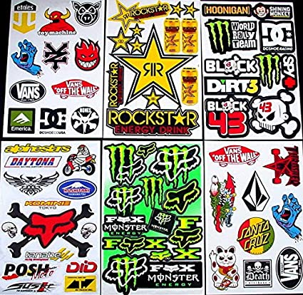 @CAre 6 Sheets Motocross stickers Bul Rockstar bmx boys bike Scooter Moped army Decal Stickers