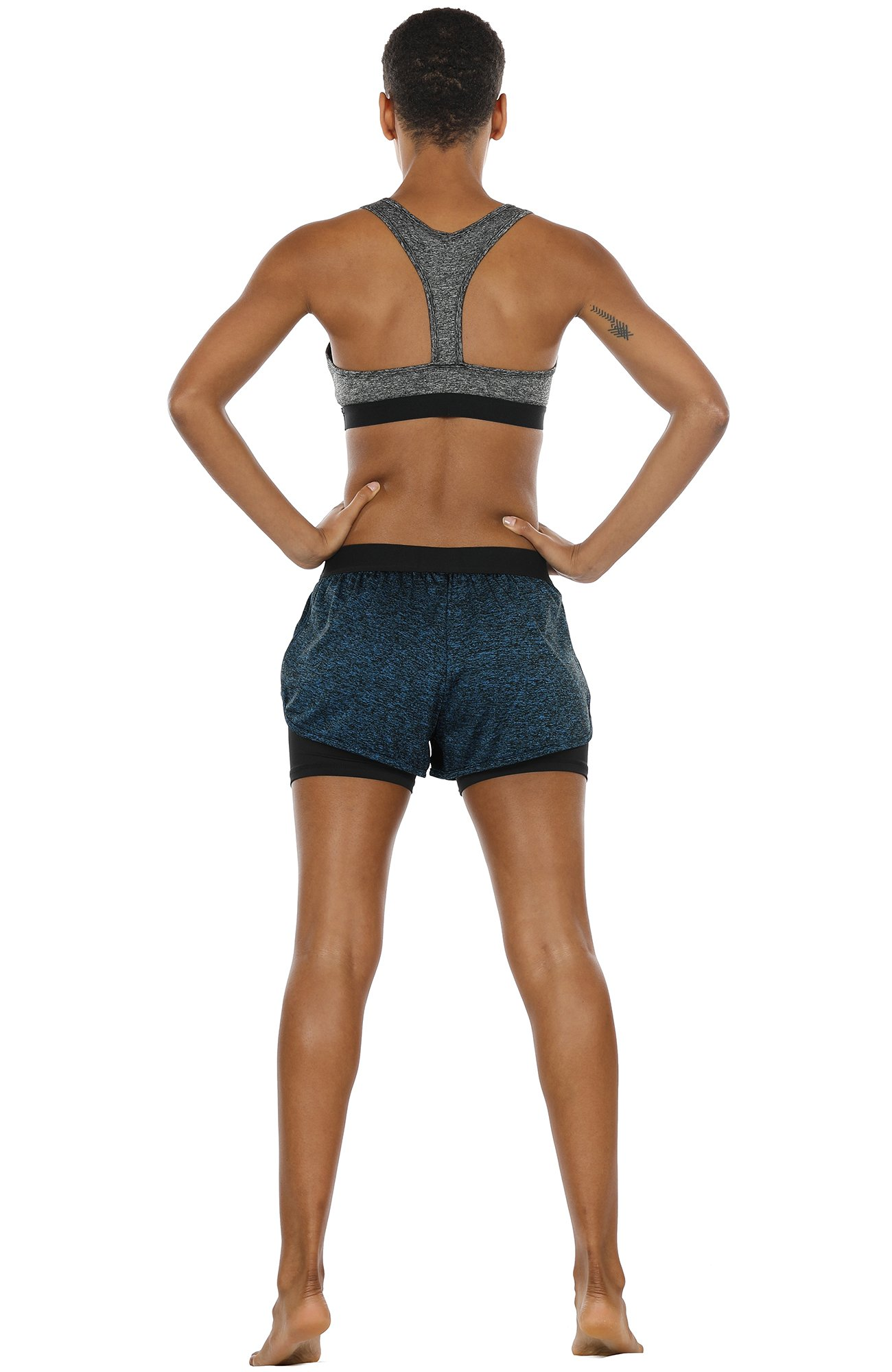 icyzone Activewear Workout Yoga Running Fitness Exercise Athletic Shorts for Women 2-in-1 (Royal Blue, M)