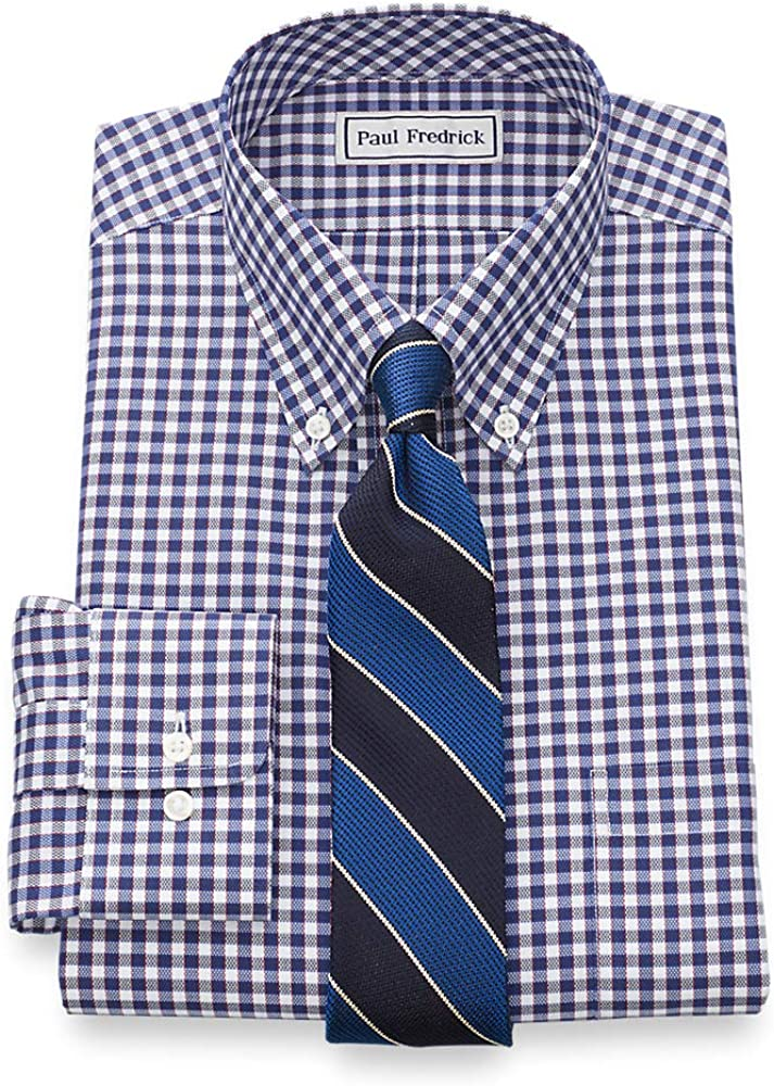 Paul Fredrick Mens Classic Fit Non-Iron Cotton Gingham Dress Shirt