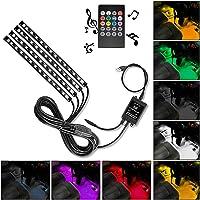 Nilight 4PCS 48 LEDs USB Interior Lights DC 5V Multicolor Music Car Strip Light Under Dash Lighting Kit with Sound…