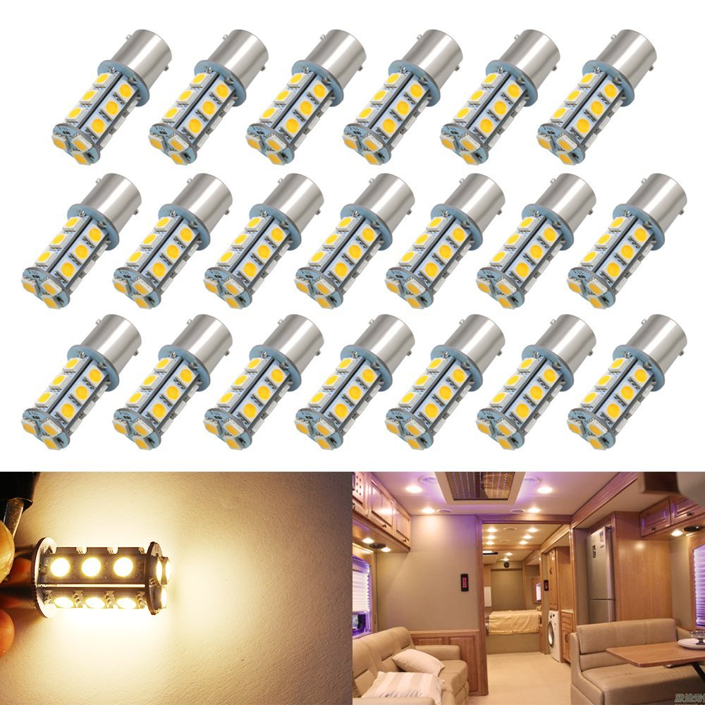 Boodled 20pcs Super Bright 1156 P21W BA15S LED Bulb 5050 18-SMD Chipsets LED Bulbs For Car Tail Brake,Turn Signal,Parking,Backup,Side Marker Lights,Cheapest In Market 12V Warm White.