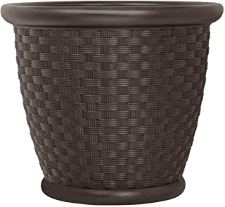 product image for Suncast Sonora 22 Inch Resin Wicker Decorative Garden Flower Planter, Java
