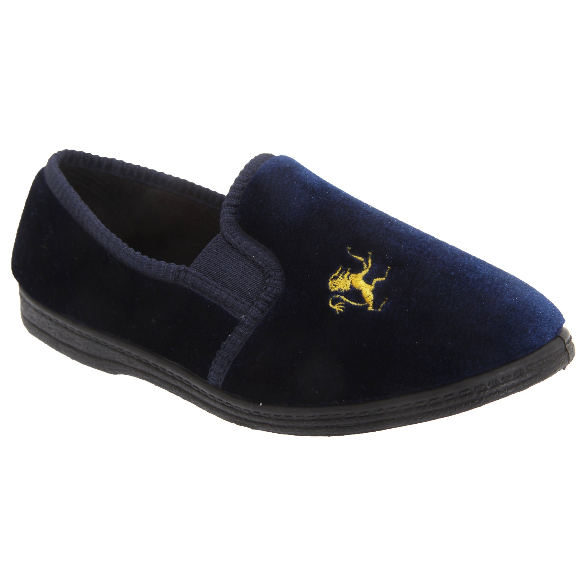 Sleepers Kids Big Boys Kyle Lion Motif Twin Gusset Slippers (1 US) (Navy Blue) by Sleepers (Image #1)