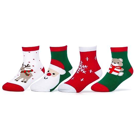 camirus 4 pack kids christmas cotton socks unisex boys girls holiday sock for gift
