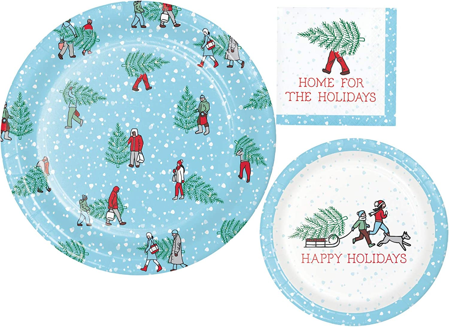 Holiday Tree Farm Themed Party Supplies Pack Home for the Holidays Bundle Includes Paper Plates and Napkins for 8 Guests