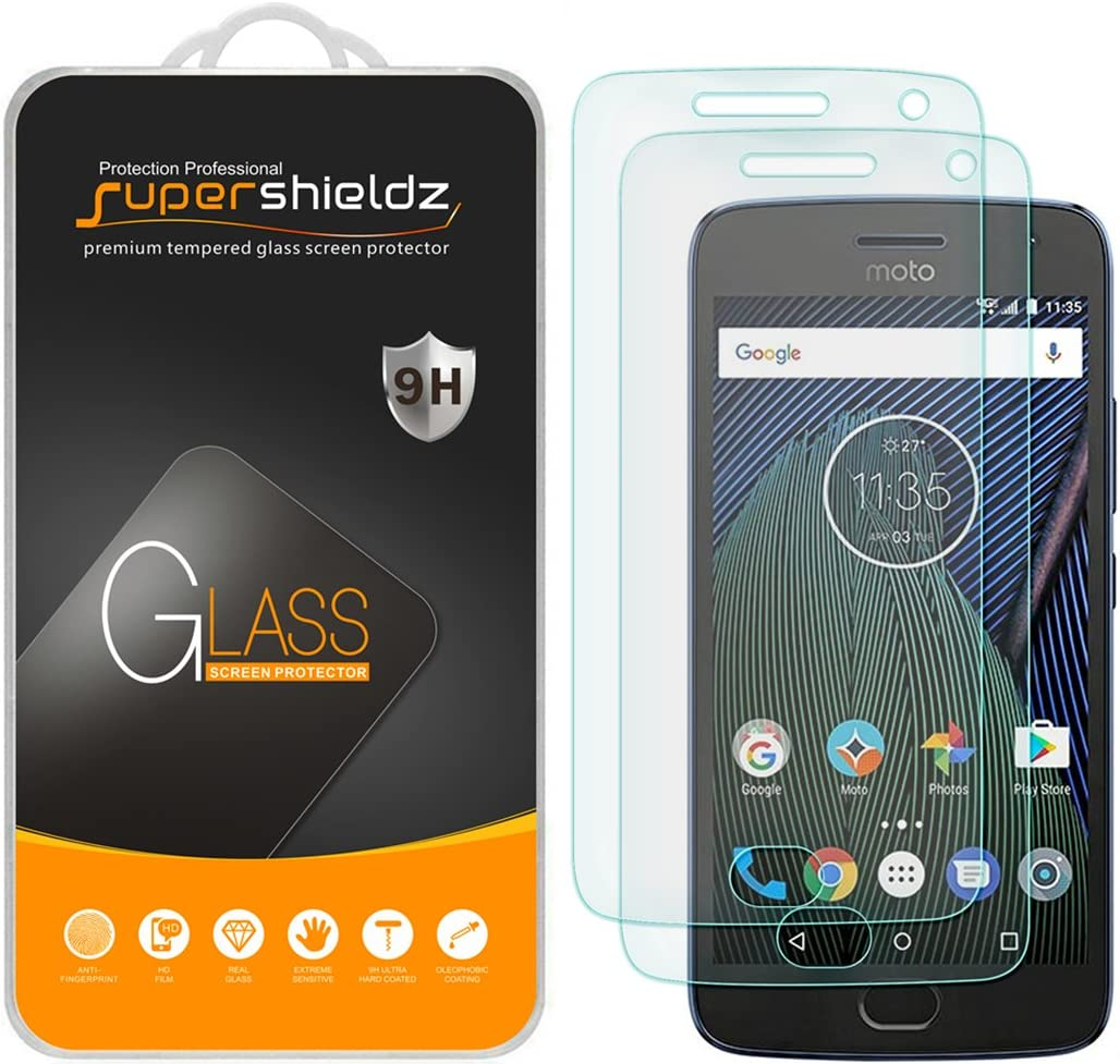 (2 Pack) Supershieldz for Motorola (Moto G5 Plus) and Moto G Plus (5th Generation) Tempered Glass Screen Protector Anti Scratch, Bubble Free