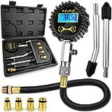 AZUNO Compression Tester Automotive, Digital Compression Gauge 200 PSI for Petrol Engine Cylinder Compression Tester Kit…