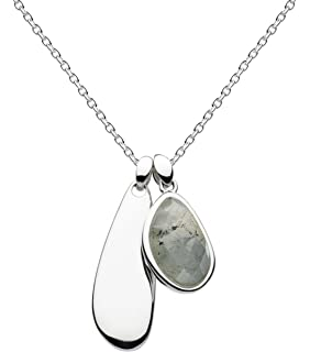 Kit Heath Sterling Silver Bevel Bar Curve Necklace of Length 40.6-45.7cm