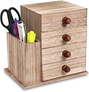 Ikee Design Multifunctional Wood Shelf Organizer for Desk with Drawers, Mini Desk Storage for Office Supplies, Crafts, etc.Great for Desk, Vanity, Tabletop in Home or Office