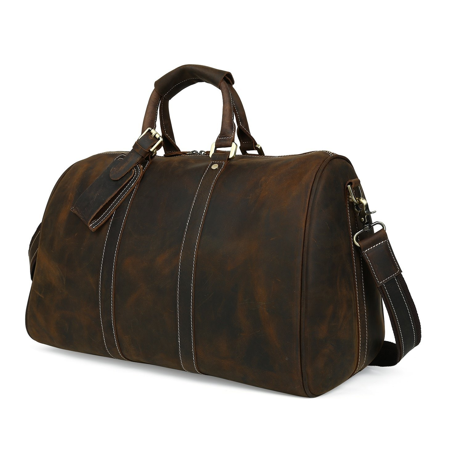 SUNVP Mens Crazy Horse Leather Duffle Bag Vintage Overnight Tote Crossbody Bags