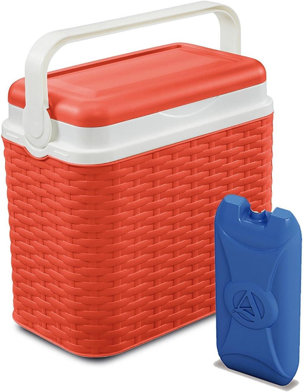 10 L ratán Design Cooler Box Camping Playa Picnic + 1 Ice Pack Viaje, Naranja, Cooler Box + 1 Ice Pack: Amazon.es: Hogar