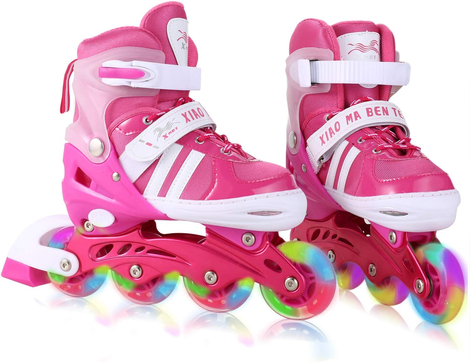 Dongchuan Inline Skates Women Men Adjustable Size 5-8 Kid 12J-2 2-5 for Boys Girls Aggressive Roller Skates with LED PU Wheels Durable Outdoor Indoor Gift Toddlers Teen