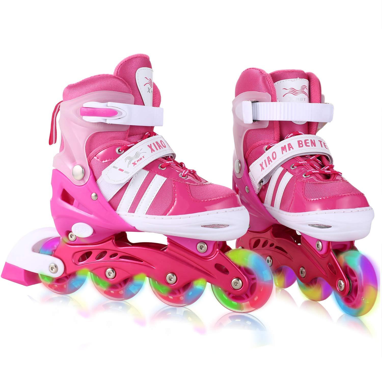 Dongchuan Inline Skates Women Size 5 6 7 8 Adjustable Sizes Roller Skates Youth Illuminating PU Wheels Durable Aluminum Frame Lightweight ABEC-7 Bearings Outdoor/Indoor Gift
