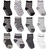 Baby Socks,CIEHER 12 Pairs Baby Socks with Grips,Toddler Socks Boys Girls,Non Skid Anti Slip Organic Cotton Socks