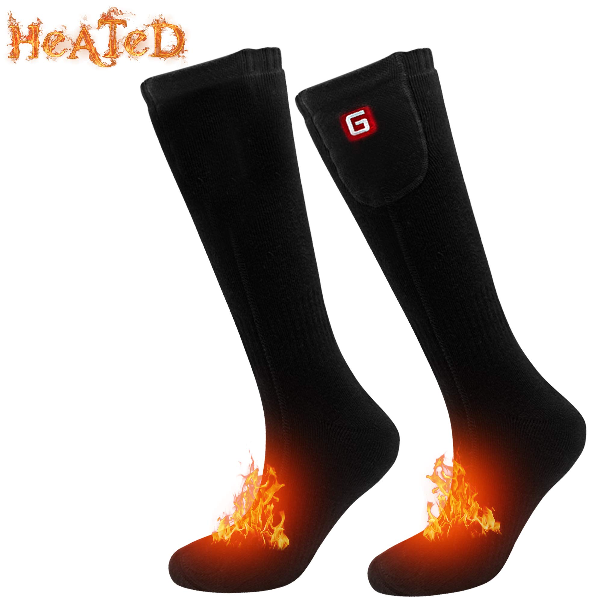 Greensha Electric Heated Socks,Battery Powered Electric Heating Socks for Men&Women,Indoor Outdoors Sports Thermal Socks,Winter Rechargeable Heated Socks for Chronically Cold Feet by Greensha