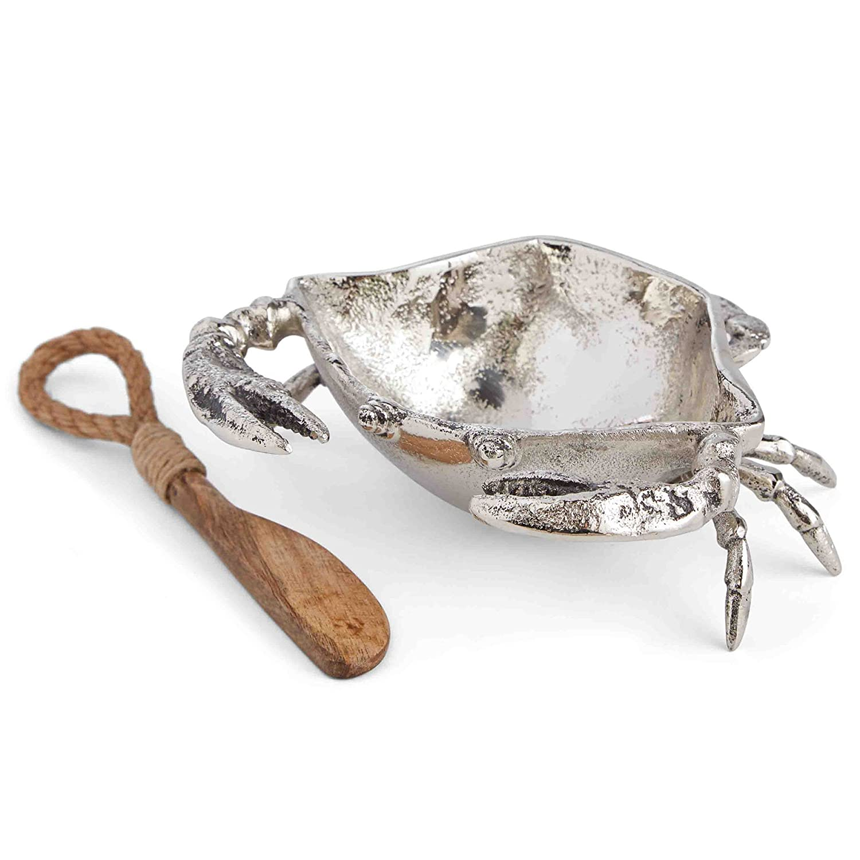 Silver Metal Crab Dip Cup and Spreader Set