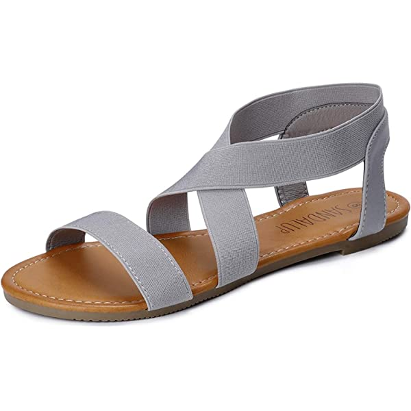 SANDALUP Women's Elastic Flat Sandals Grey Size: 5: Amazon