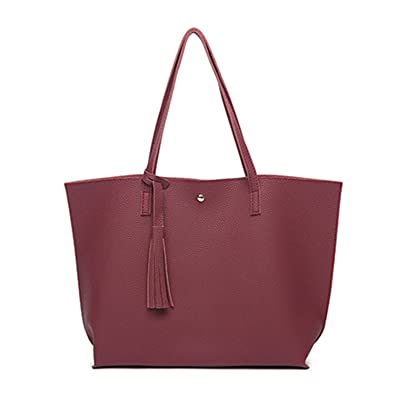 64570535fae0 Amazon.com  Acereima Women Bags Leather Casual Tassel Handbags Female  Designer Bag Vintage Big Size Tote Shoulder Bag bolsos wine red  Shoes