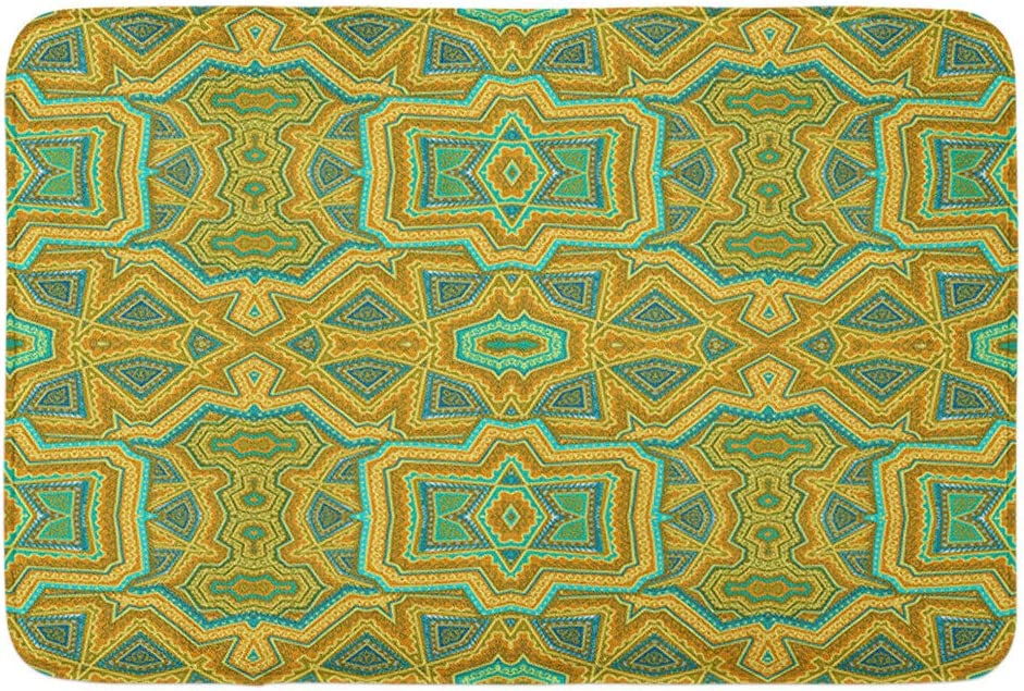 "Adowyee 20""x30"" Bath Mat Abstract Mustard Chartreuse Green Ornamental Pattern Ethnic Indian Lace Cozy Bathroom Decor Bath Rug with Non Slip Backing"