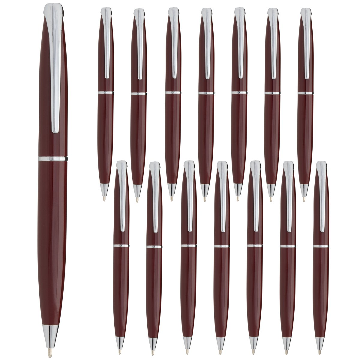 Estrella (15 Pack) Twist Pens Medium Point Ballpoint Pens Retractable Metal Ink Office Supplies by Estrella (Image #1)