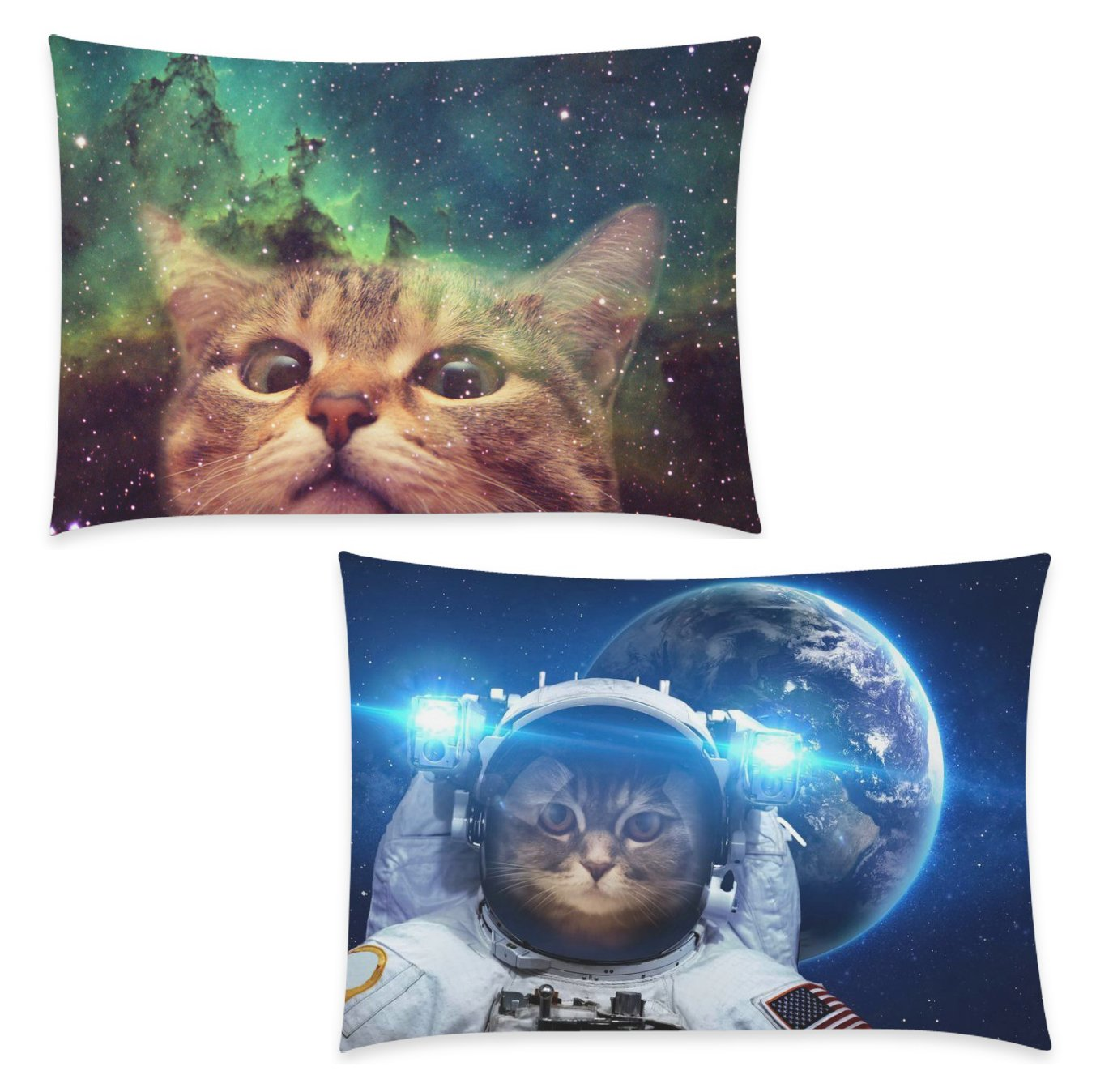 InterestPrint 2 Pack Funny Galaxy Cat Pillow Case Cover 20x30 One Side, Animal Zippered Pillowcase Set Decoration