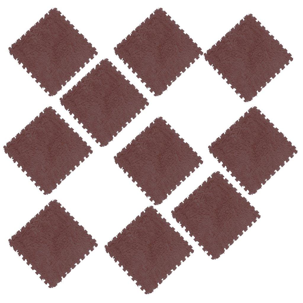 Blanc MagiDeal Kit de 10pcs Dalles Puzzle en Mousse Eva Tapis de Sol Velours Souple Interlocking Tiles pour Enfant B/éb/é Kids Nursery