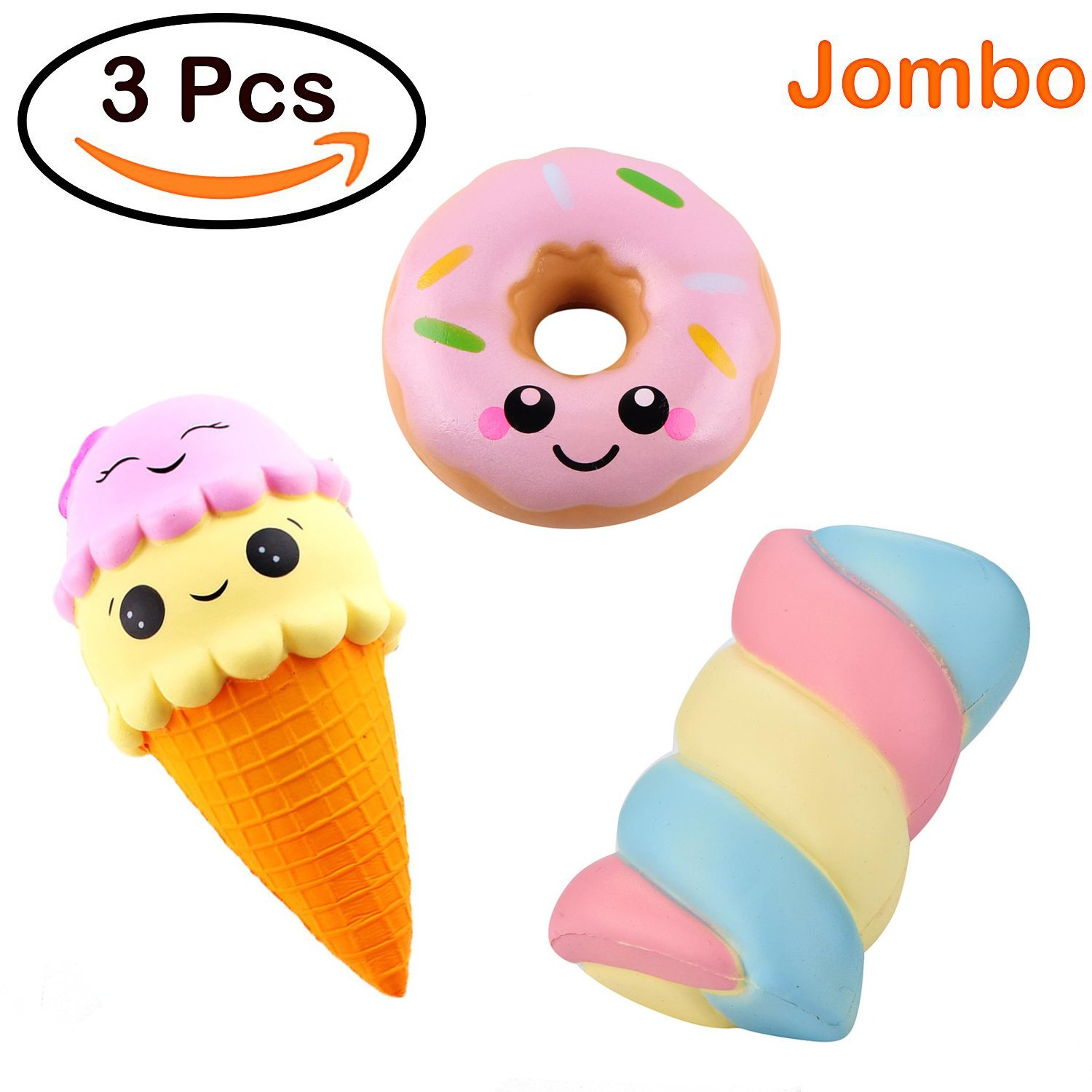 Joykith Kawaii Jumbo Ice Cream &Spun Sugar Doughnut set Squishy Slow Rising Sweet Scented Vent Charms Kid Toy Hand Toy, Stress Relief Toy, decorative props Doll Gift Fun Large
