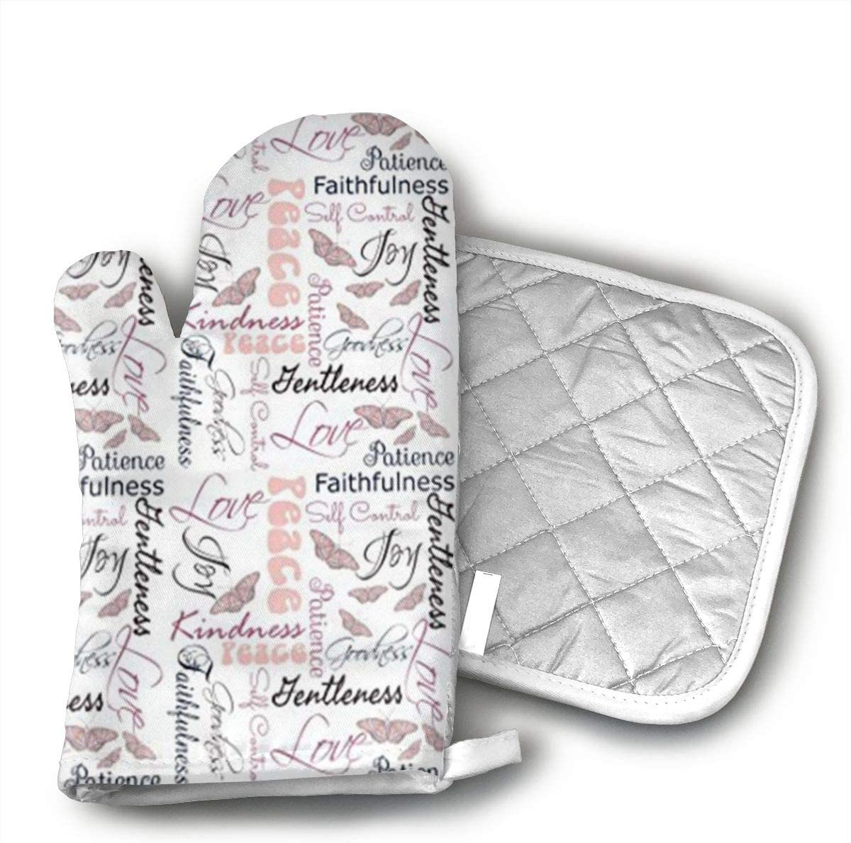 Christian Fruit of The Spirit Butterflies Oven Mitts and Pot Holders Baking Oven Gloves Hot Pads Set Heat Resistant for Finger Hand Wrist Protection
