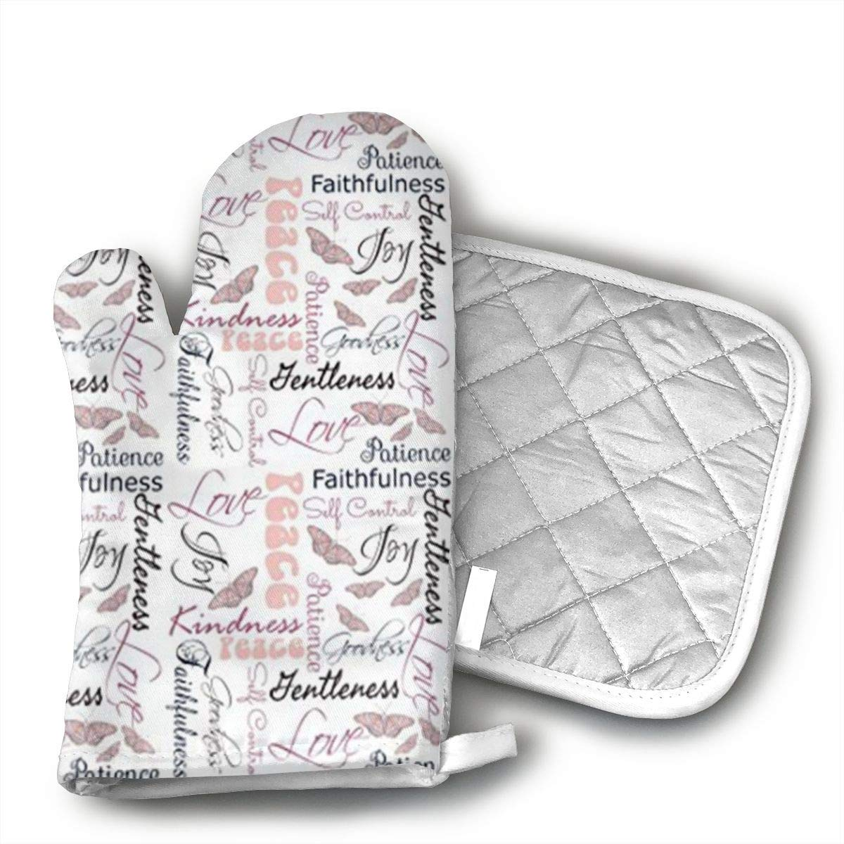 Ksiwo Christian Fruit of The Spirit Butterflies Oven Mitts and Pot Holders Heat Resistant Gloves to Oven Gloves for Safe BBQ Cook Baking Grilling